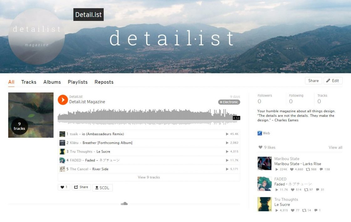 Detailist Soundcloud Playlist